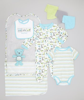 Blue 'Beep Beep!' Nine-Piece Layette Set - Infant