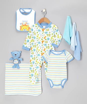 Blue 'Mommy's Mane Man' 9-Piece Layette Set