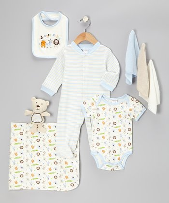 Blue 'Jungle Pals' 9-Piece Layette Set