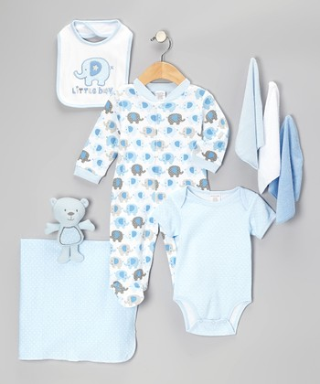 Blue 'Little Boy' Nine-Piece Layette Set