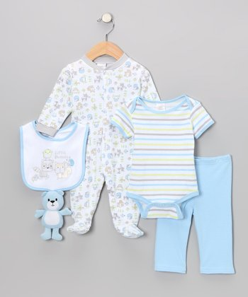 Blue 'Little Buddies' 5-Piece Layette Set
