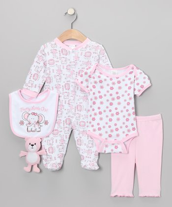 Pink 'Pretty Little Girl' Five-Piece Layette Set