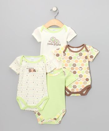 Tan 'Little Friend' Elephant Bodysuit Set