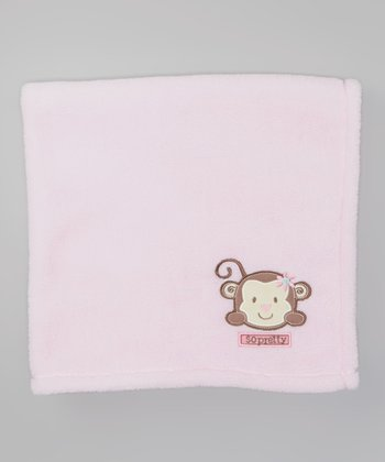 Pink 'So Pretty' Monkey Velboa Stroller Blanket