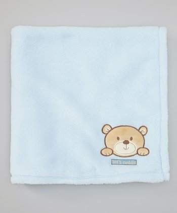 Blue 'Let's Cuddle' Bear Velboa Stroller Blanket