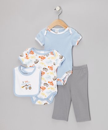 Cutie Pie Baby Blue 'I Dig Mommy' Bodysuit Set