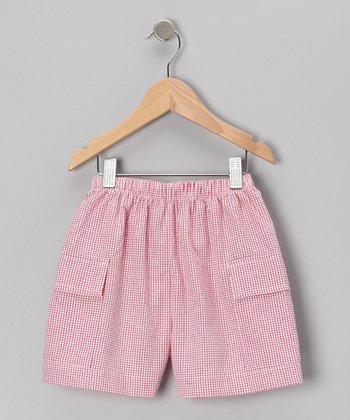 Red Plaid Fire Truck Cargo Shorts - Boys