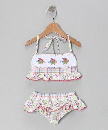 Green Plaid Kissy Fish Sunsuit - Toddler & Girls