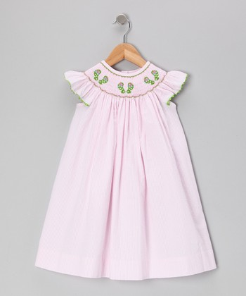 Pink Seersucker Flip-Flop Smocked Dress - Infant, Toddler & Girls