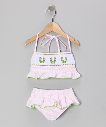 Pink Seersucker Flip-Flop Sunsuit - Infant, Toddler & Girls