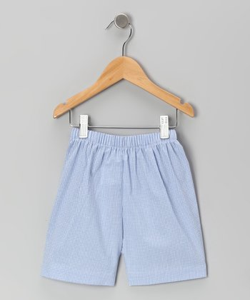 Navy Gingham Alligator Shorts - Boys