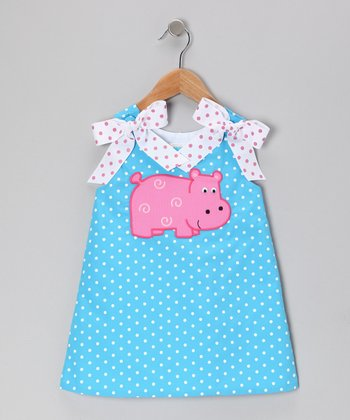 Blue Polka Dot Hippo A-Line Dress - Toddler & Girls