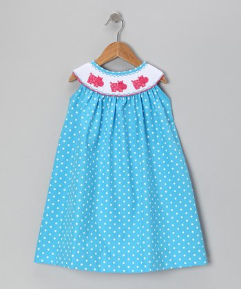 Blue Polka Dot Hippo Smocked Yoke Dress - Toddler & Girls