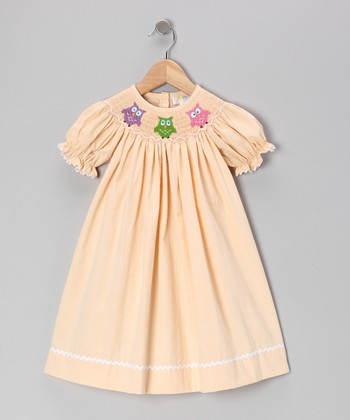 Melon Seersucker Hooty Bishop Dress - Infant, Toddler & Girls