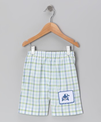 Blue Plaid Shark Swim Trunks - Infant, Toddler & Boys