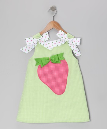 Green Gingham Strawberry A-Line Dress - Girls