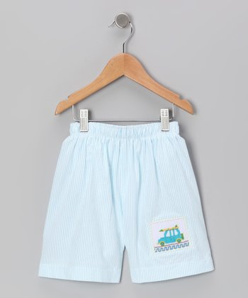 Light Blue Surf's Up Cotton Swim Trunks - Infant & Boys