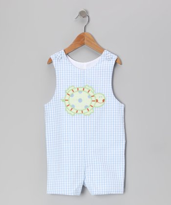 Blue Seersucker Turtle Trot Shortalls - Toddler