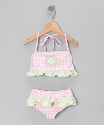 Pink Seersucker Turtle Trot Sunsuit - Girls