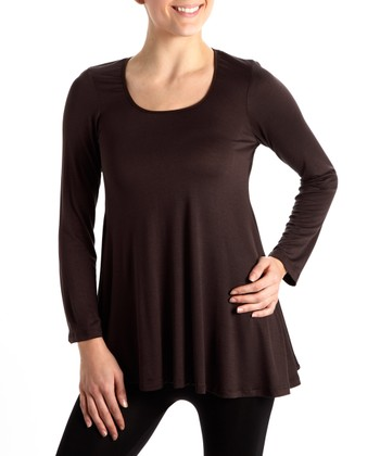 Brown Scoop Neck Plus-Size Tunic