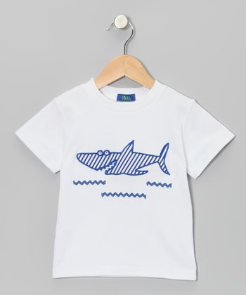 White & Blue Stripe Shark Appliqué Tee - Boys