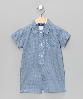 Blue Gingham Polo Romper - Infant