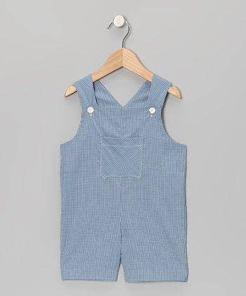 Navy Blue Gingham Pocket Shortalls - Infant & Toddler