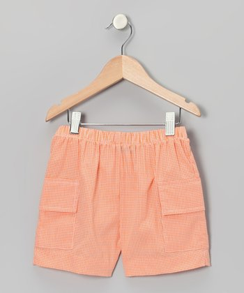 Orange Gingham Cargo Shorts - Boys