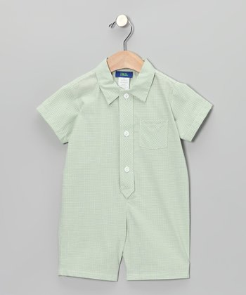 Green Gingham Polo Romper - Infant