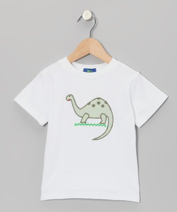 White & Green Gingham Dinosaur Appliqué Tee - Boys