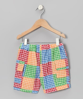 Red & Yellow Gingham Patchwork Cargo Shorts - Boys