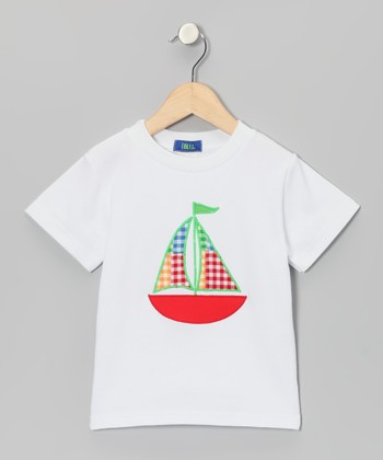 White & Red Gingham Sailboat Appliqué Tee - Boys