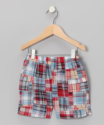 Blue & Red Madras Cargo Shorts - Boys