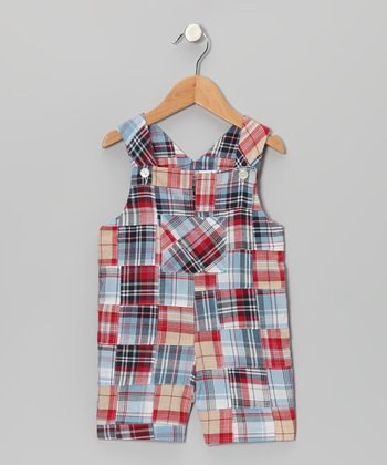 Blue & Red Madras Pocket Shortalls - Infant & Toddler
