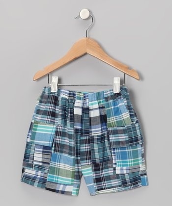 Blue & Black Madras Cargo Shorts - Boys