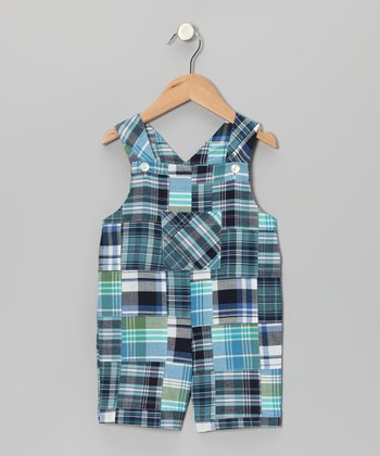 Blue & Black Madras Patchwork Shortalls - Infant & Toddler
