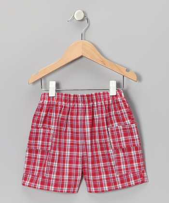 Red Plaid Cargo Shorts - Toddler & Boys