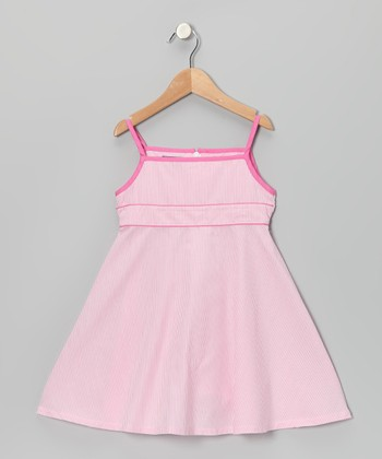 Pink Stripe Babydoll Dress - Toddler & Girls