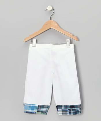 White & Blue Madras Capri Pants - Toddler & Girls