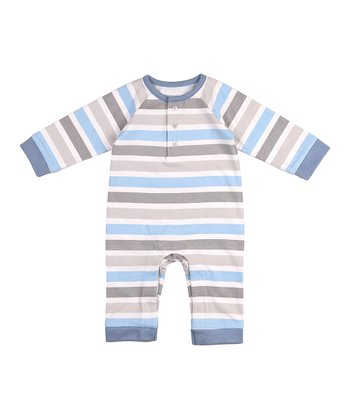 Cloud Blue Linen Stripe Twilight Playsuit - Infant
