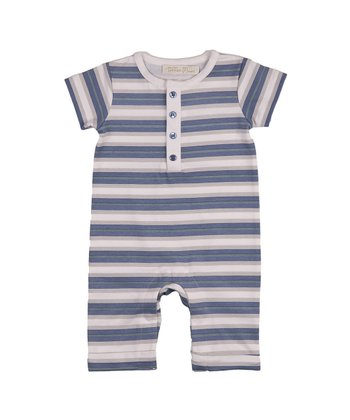 Ocean Blue Stripe Neptune Romper - Infant