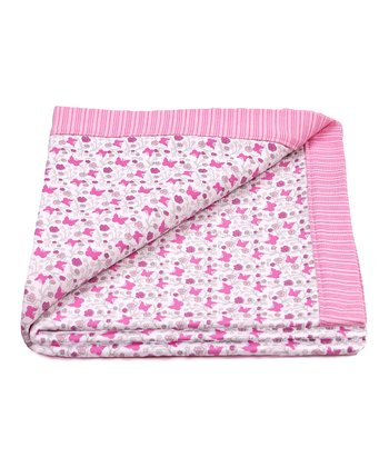 Pink Butterfly Reversible Receiving Blanket