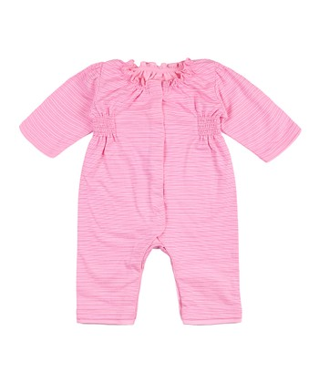 Hot Pink Stripe Nixie Ruffle Playsuit - Infant