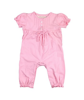 Candy Pink Polka Dot Ruffle Romper - Infant