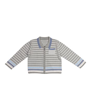 Gray Stripe Oscar Zip-Up Cardigan - Infant
