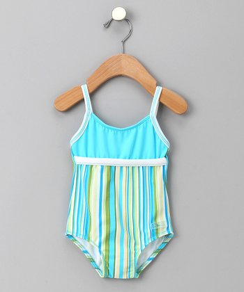 Turquoise Stripe One-Piece - Infant & Toddler