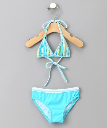 Turquoise Stripe Reversible Triangle Bikini - Girls
