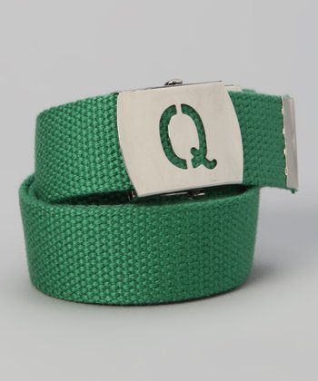 Green Initial Buckle Belt