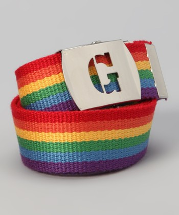 Rainbow Initial Buckle Belt