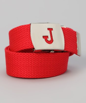 Red Initial Buckle Belt